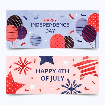 Conjunto de banners del día de la independencia del 4 de julio en acuarela pintada a mano