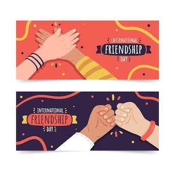 Conjunto de banners del día internacional de la amistad dibujados a mano