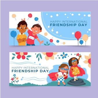 Conjunto de banners del día internacional de la amistad de dibujos animados