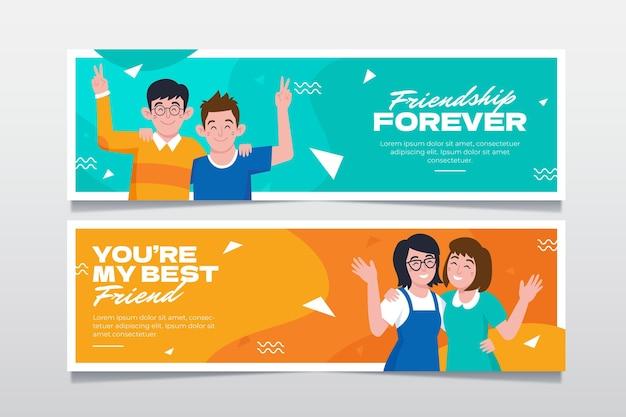 Conjunto de banners del día internacional de la amistad.