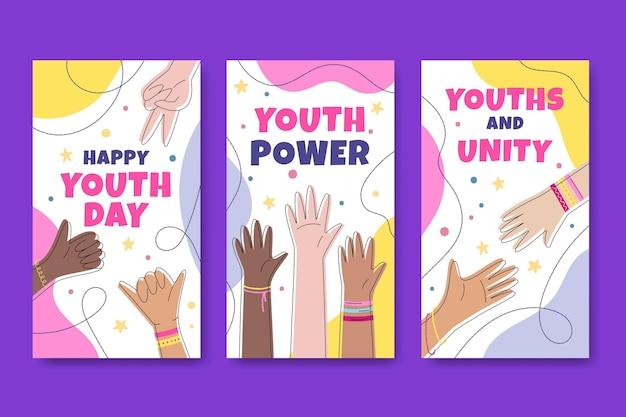 Conjunto de banners del día internacional de la juventud dibujados a mano