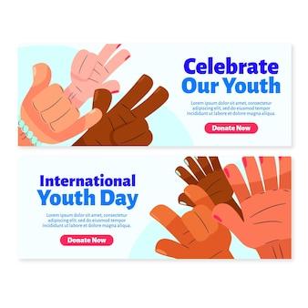 Conjunto de banners del día internacional de la juventud.