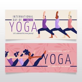 Conjunto de banners de día internacional plano orgánico del yoga
