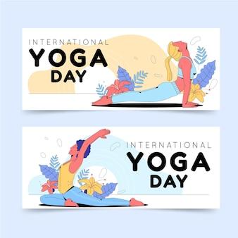 Conjunto de banners de día internacional plano orgánico del yoga.