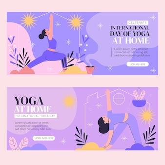 Conjunto de banners del día internacional del yoga dibujados a mano