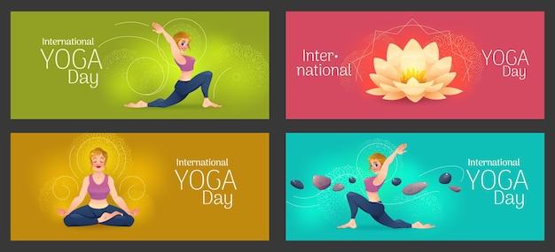 Conjunto de banners de día internacional de yoga de dibujos animados