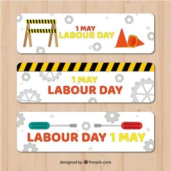 Conjunto de banners del día laboral con herramientas