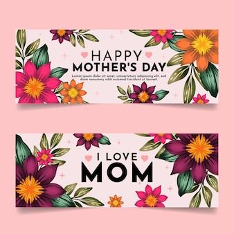 Conjunto de banners del día de la madre en acuarela pintados a mano.