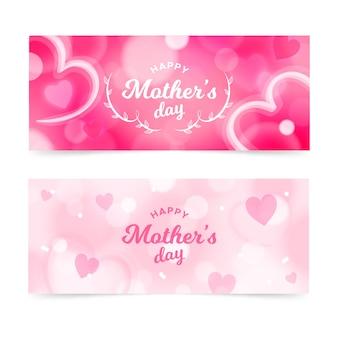 Conjunto de banners de día de la madre borrosa