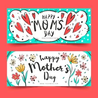 Conjunto de banners de día de la madre dibujados a mano