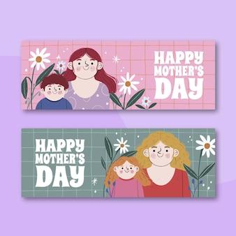 Conjunto de banners del día de la madre dibujados a mano