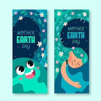 Conjunto de banners del día de la madre tierra dibujados a mano