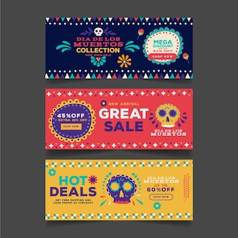 Conjunto de banners de día de muertos de diseño plano