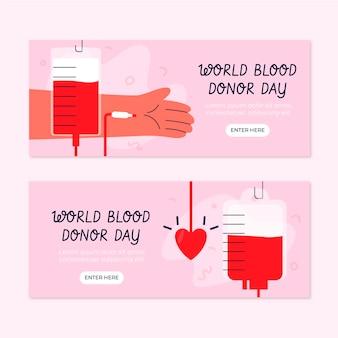 Conjunto de banners del día mundial del donante de sangre dibujados a mano