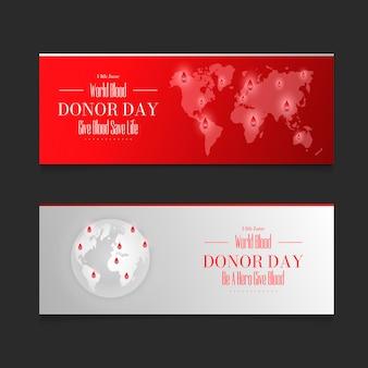 Conjunto de banners del día mundial del donante de sangre realista