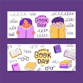 Conjunto de banners del día mundial del libro dibujados a mano
