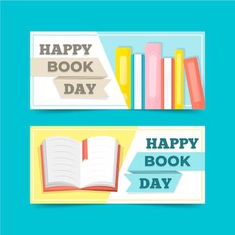 Conjunto de banners de día mundial del libro de diseño plano