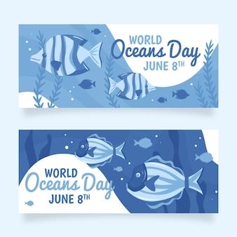 Conjunto de banners del día mundial de los océanos dibujados a mano