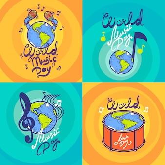 Conjunto de banners del día de la música.