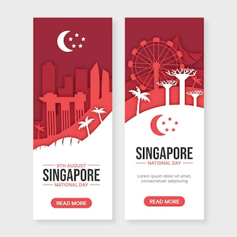 Conjunto de banners de día nacional de singapur de estilo de papel
