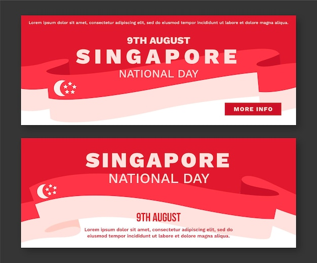 Conjunto de banners del día nacional de singapur