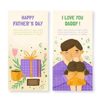 Conjunto de banners del día del padre en acuarela pintados a mano.
