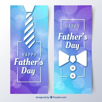 Conjunto de banners de día del padre con corbata y pajarita