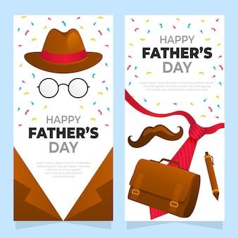 Conjunto de banners del día del padre degradado.