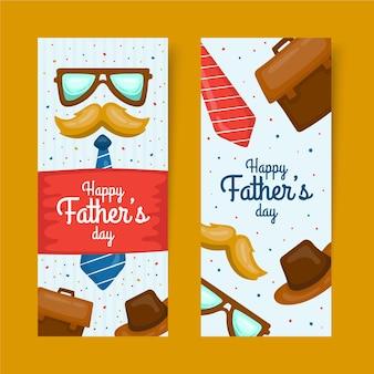 Conjunto de banners de día del padre dibujado a mano
