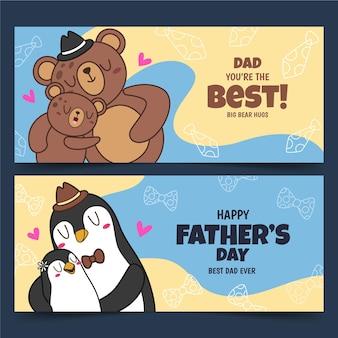 Conjunto de banners del día del padre dibujados a mano