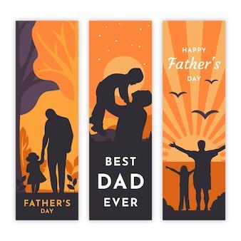 Conjunto de banners de día del padre de diseño plano