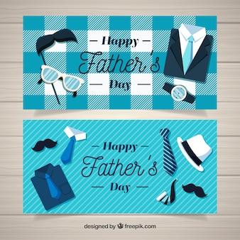 Conjunto de banners de día del padre con elementos de ropa