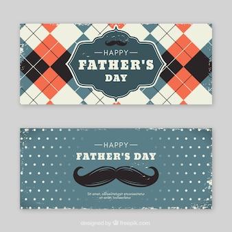 Conjunto de banners de día del padre con elementos vintage