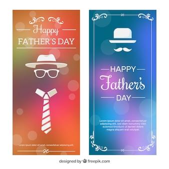 Conjunto de banners de día del padre en estilo desenfocado
