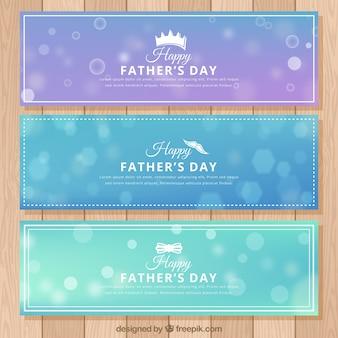 Conjunto de banners de día del padre con fondo desenfocado