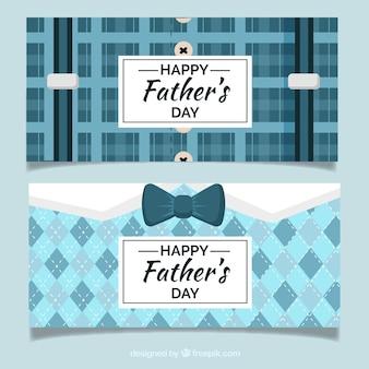 Conjunto de banners de día del padre con patrón de traje