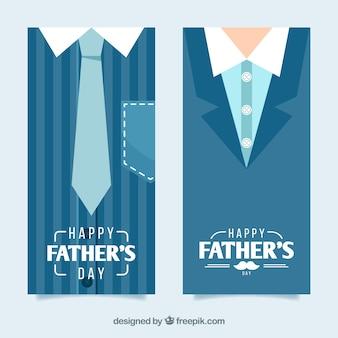 Conjunto de banners de día del padre con traje plano