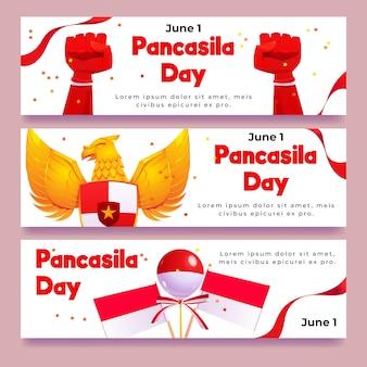 Conjunto de banners de día de pancasila de dibujos animados