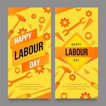 Conjunto de banners de día del trabajo degradado
