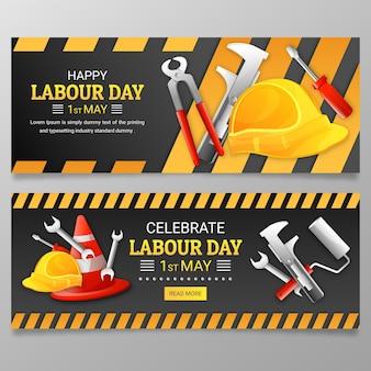 Conjunto de banners del día del trabajo degradado