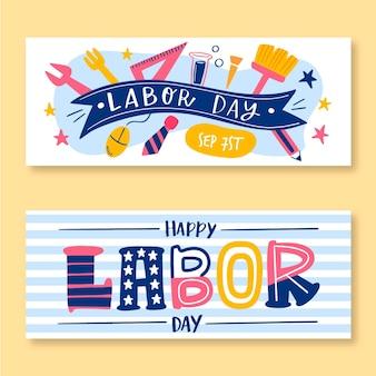 Conjunto de banners de día del trabajo dibujado a mano