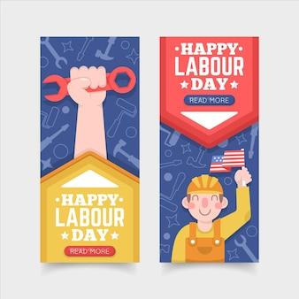 Conjunto de banners de día del trabajo de diseño plano