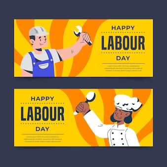 Conjunto de banners del día del trabajo plano orgánico.