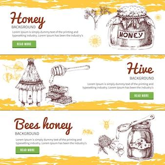 Conjunto de banners dibujados a mano de miel