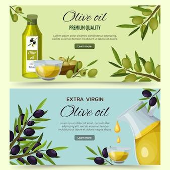 Conjunto de banners de dibujos animados de aceite de oliva