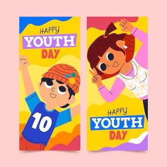 Conjunto de banners de dibujos animados del día internacional de la juventud
