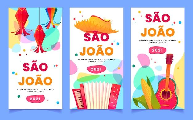 Conjunto de banners de dibujos animados festa junina