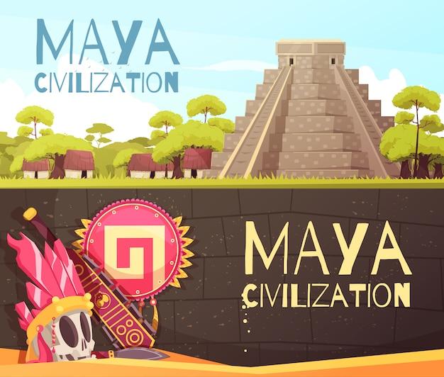 Conjunto de banners de dibujos animados mayas