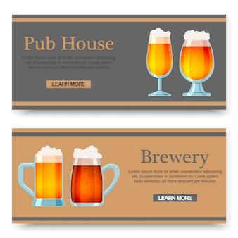 Conjunto de banners de dibujos animados con vasos de cerveza para bar, pub, cervecería o cervecería.