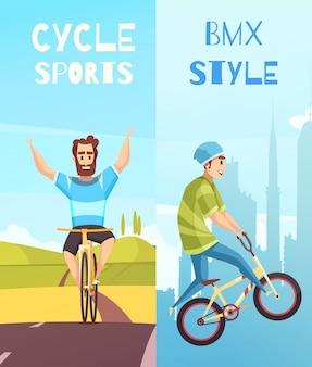 Conjunto de banners de dibujos animados verticales de ciclismo de carreras